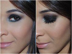 Make com glitter preto e iluminado azul