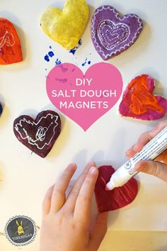 Valentine Crafts for Kids: Salt Dough Magnets. Or use a Cookie cutter to coordinate with the holiday! Valentine Crafts For Kids, Crafts For Kids To Make, Be My Valentine, Holiday Crafts, Holiday Fun, Art For Kids, Creative Crafts, Fun Crafts, Salt Dough Crafts