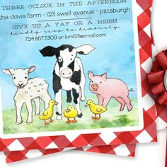 Baa, Oink, Quack, Moo! Your little one is turning two (or one or three or six!)! Why not celebrate the big day with this sweet (& gender neutral!) farm barnyard invitation?! This invite features a red gingham background with watercolor baby farm animals (sheep, pig, duck, cow). All information (including the age!) can be customized to perfectly suit your little ones big day. This listing includes: ♥One customized 5x7 invitation design  Please note: No printed items will be shipped. All items ... Farm Birthday, Birthday Ideas, Invitation Design, Invite, Sheep Pig, Baby Farm Animals, Country Fair, Farm Theme, Red Gingham