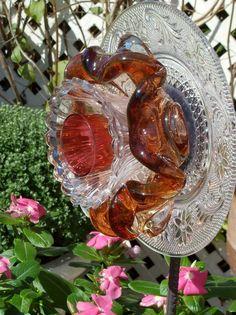 Glass Flower Art Yard And Garden Ornament SHARON by jarmfarm