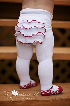Adorable! I remember having tights like when I was little this & a little ruffle slip. :)