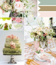 blush pink and sage greenwedding color ideas 2014