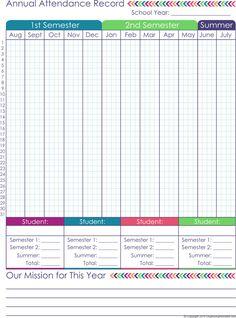 printable attendance record