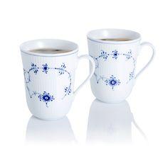 Blue Fluted Plain Mug 2-Pack