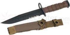 Ontario OKC3S Khaki Brown USMC Bayonet 8 inch Blade and Scabbard (6504)