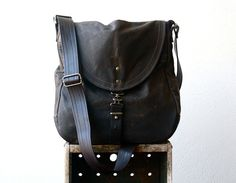 ready to ship 1903 NY CROSS BODY waxed canvas with by MimsMaine, $248.00