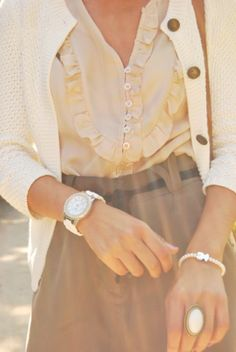 lovely feminine  cardi cute buttons belted skirt simple but key  beautiful jewelry ruffled blouse