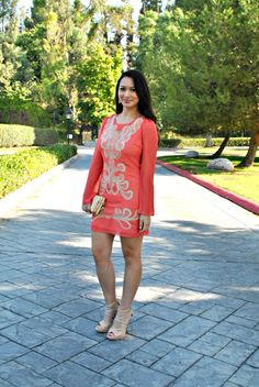 Coral and Beige Cocktail dress and ShoeMint Appolina Heels