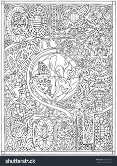 Color My World Hand Drawn Black And White Adult Coloring Book Vector Illustration