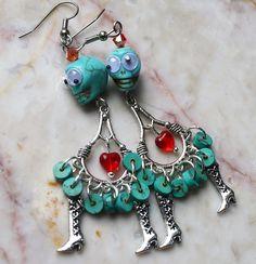 Turquoise Skull Day of the Dead Earrings