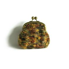 Cosmetic Pouch Knit in Variegated Ochre, Brown and Olive...i would use this to put my change in..