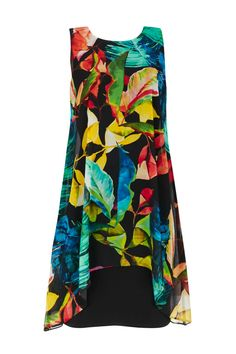 Black Tropical Print Overlay Dress #WallisEscapes