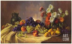 Still Life with Fruit Print by E. Kruger at Art.com