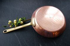Vintage French Copper Saute Pan, Bazar Francais New York Copper Frying Pan with Brass Handle, Made in France, Copper Skillet
