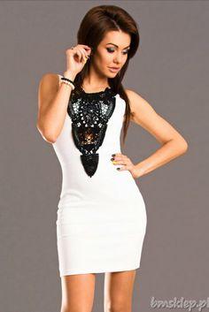 Szyfonowa sukienka ze zdobieniem z przodu... #Sukienki - http://bmsklep.pl/emamoda-sukienka-bialy-6501-1