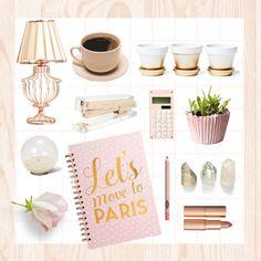 Desk Set by hellodollface on Polyvore featuring polyvore interior interiors interior design home home decor interior decorating Kate Spade Dot & Bo Charlotte Tilbury