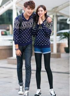 CT06707 Korean style fawn sweater blue couple clothes