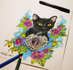 Cat heart flowers kitty tattoo design by @ankafaink