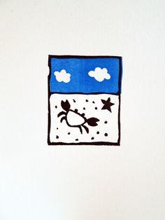 Sur le sable plage crabe étoile de mer vacances par auboutdubanc gravure Sandrine Péron ( prix 25 € sur Etsy shop)