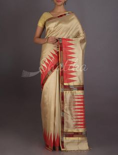 Noori Elegant Beige Work Border With Temple Design #ChikankariSilkSaree