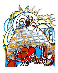 "Daphne Odjig, Inuit artist, ""Western Wall"" (1976)"