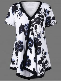 d99570123ea Plus Size Plant Print Longline Ringer T-Shirt-Fashion Clothing Site with  greatest number of Latest casual style Dresses as well as other categories  such as ...
