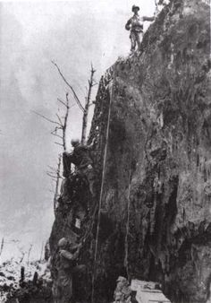 Desmond Doss, the only conscientious objector ever to receive the Medal of Honor.  He lowered 75 wounded soldiers one at a time down this cliff in one day during WWII.  Despite his refusal to carry a gun, his men respected him immensely.