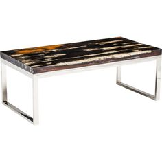 Railwood Resin Coffee Table  $1,179.00 Little pricey but would allow contemporary to meet warm.