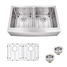 Superior Sinks 22.25-in x 32.825-in Brushed Satin Double-Basin Stainless Steel Apron Front/Farmhouse Residential Kitchen Sink