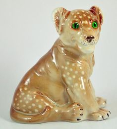 Vintage Porcelain Lion Cub perfume lamp. Made in Germany
