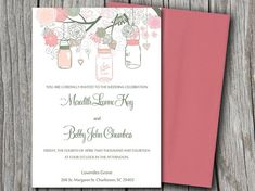DOWNLOAD Love Birds, Flower, Hearts, Tree Wedding Invite Microsoft Word Template - Sage Green, Blush Pink Mason Jars Wedding Invitation by PaintTheDayDesigns, $8.00