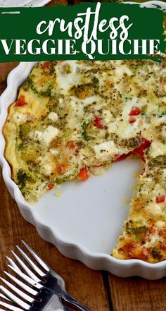 Only 120 calories a slice in this crustless vegetable quiche! Perfect for and great as leftovers! Vegetarian Quiche, Keto Quiche, Vegetable Quiche, Veggie Dishes, Veggie Recipes, Vegetarian Recipes, Cooking Recipes, Healthy Recipes, Spicy Recipes