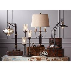 Libby 3-Light  Industrial Console Lamp with Edison Bulbs