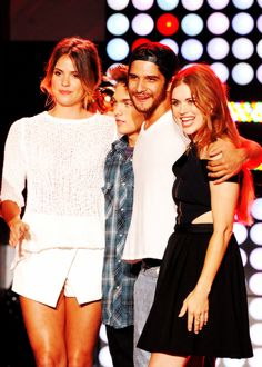 Shelley Hennig, Dylan Sprayberry, Tyler Posey and Holland Roden speak onstage at the MTVu Fandom Awards during Comic-Con