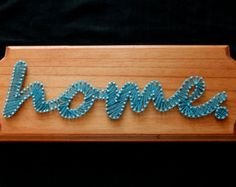 Custom Made/Made to Order - Wood Stained Words or Names Nail and String Plaque