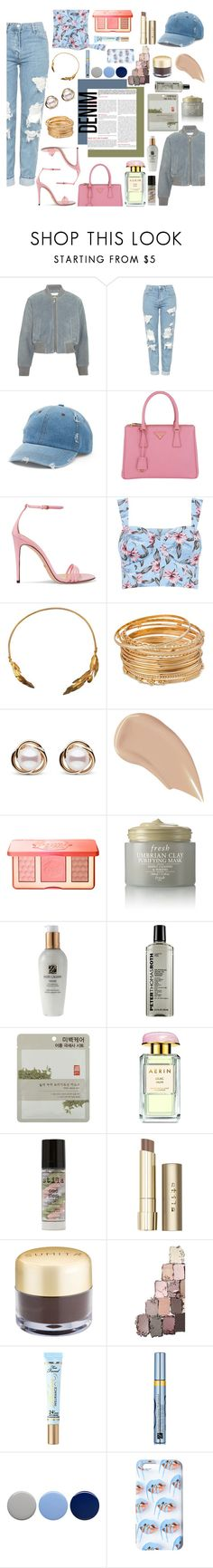"""""""Distressed... Look #96"""" by alexandriadelamode ❤ liked on Polyvore featuring See by Chloé, Topshop, Mudd, Prada, Gucci, Vassiliki, Trilogy, NARS Cosmetics, Too Faced Cosmetics and Fresh"""