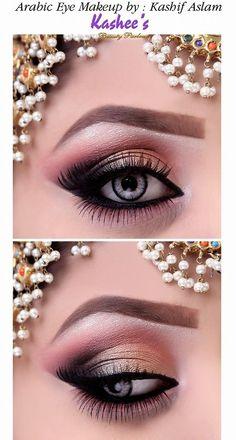Arabische Augen Make-up von Kashif Aslam von Kashees Schönheitssalon Soft Eye Makeup, Bridal Eye Makeup, Eye Makeup Steps, Bridal Makeup Looks, Beautiful Eye Makeup, Blue Eye Makeup, Smokey Eye Makeup, Pretty Makeup, Wedding Makeup