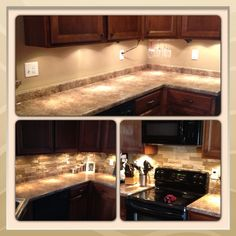 Airstone backsplash. Easy to DIY! $50 for 8 sq ft at lowes! Looks like a summer project for me! Kind of obsessed with the lights under the cabinets too. What a cool idea
