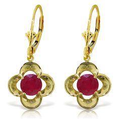 "1.10 CT 14K Solid Gold Exotic Flower Ruby Earrings (""2576"")"