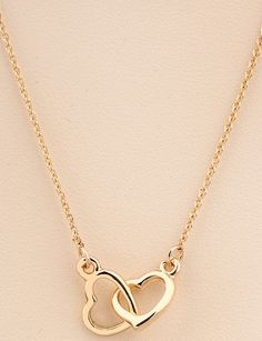 Gold Hollow Heart Necklace