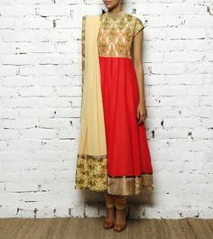 Peach Embroidered Georgette Anarkali
