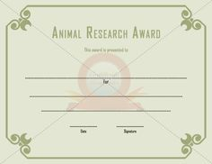 Animal Research Award  General Template Templates