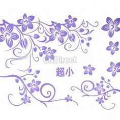 Purple Floral Flower Vine Pattern Removable DIY Wall Stickers Wall Decals Art Decor Home Room