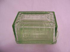 Green Depression Block Optic Butter Dish