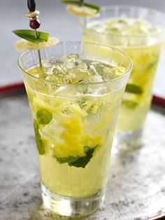 Pineapple Ginger Mojito and other mojito recipes Party Drinks, Cocktail Drinks, Fun Drinks, Yummy Drinks, Cocktail Recipes, Alcoholic Drinks, Cocktails, Yummy Food, Cocktail Shaker
