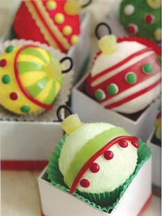Christmas Ornament Cupcakes  Fun idea.