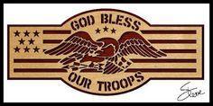 free patriotic scroll saw pattern: God Bless Our Troops. Scrollsaw Workshop: God Bless Our Troops Scroll Saw Pattern. 15 inches long.  Free woodworking pattern by Steve Good. http://scrollsawworkshop.blogspot.com/2014/07/god-bless-our-troops-scroll-saw-pattern.html