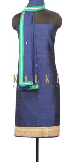 Navy blue unstithced suit with embroidered hem line only on Kalki