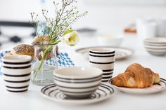 Kitchenware black and white stribes by Sostrene Grene