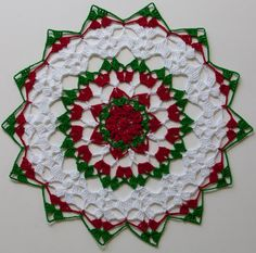 "Christmas Holiday 11"" Round Cotton Thread Crochet Holiday Doily with Flower Center"